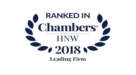 Ranked in Chambers HNW 2018 - Leading Firm